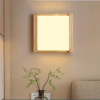 Simple modern square wooden wall lamp creative rubber solid wood LED staircase corridor Japanese wall hanging lamps head lamp