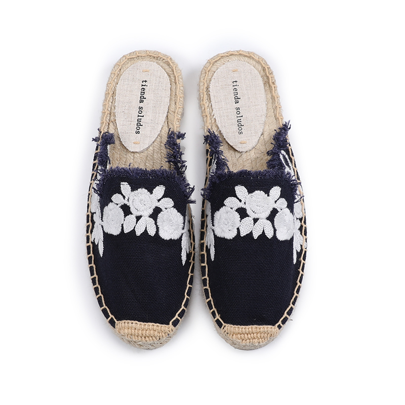 Pantufa Women Shoes Tienda Soludos Slippers Cotton Fabric Sale Promotion Hemp Rubber Summer Slides Zapatos De Mujer Floral 2