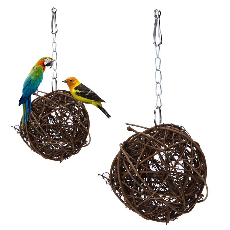 Pet Chewing Toy Parrot Bird Biting Toy Bird Branch Rattan Balls Cages Cockatoo Parakeet Cockatiel Swing Playing Toy Birdcage