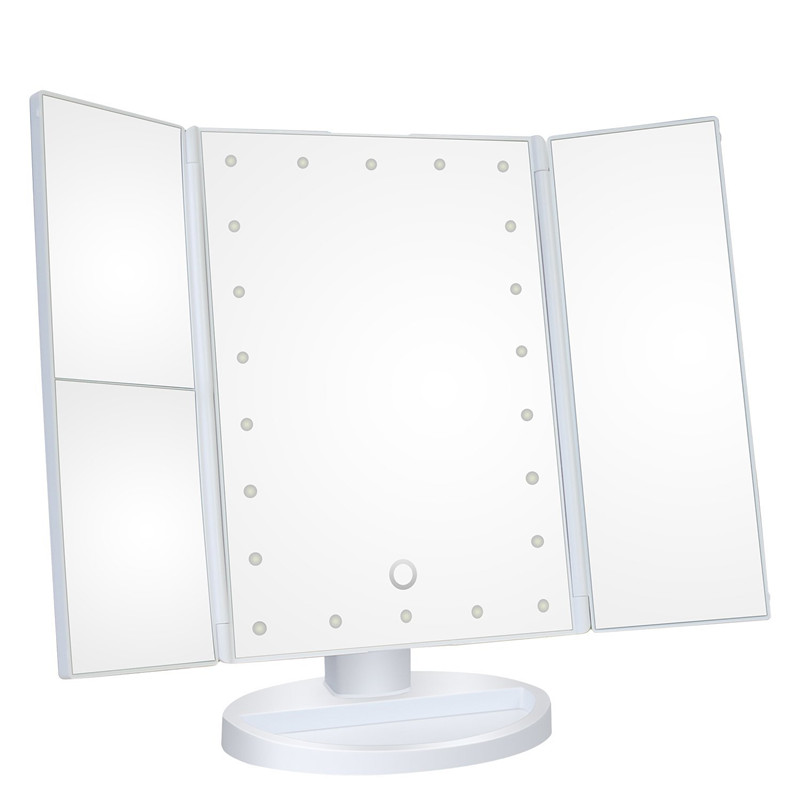 MINCH 22 LED Touch Screen Makeup Mirror 1X 2X 3X 10X Magnifying Mirrors Tri-Folded Deskt ...