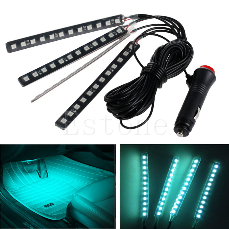 Ice Blue 4x12LED Car Interior Light Atmosphere Decorative Neon Lamp Strips New