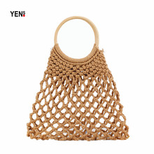 Women Woven Hollow Out Cotton Bag Natural Summer Beach Round Handle Vintage Small Knitting Mesh Handbag Retro Messenger