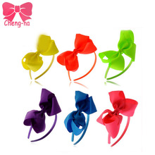 6pcs/lot High Quality Neon Color Hair Band With Grosgrain Ribbon Knot Hair Bow Hair Band For Kids Hair Accessories