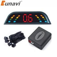 Eunavi Автомобильный парктроник СВЕТОДИОДНЫЙ парковочный датчик с 4 датчиками обратный резервный автомобильный парковочный Радар монитор детектор Система подсветка