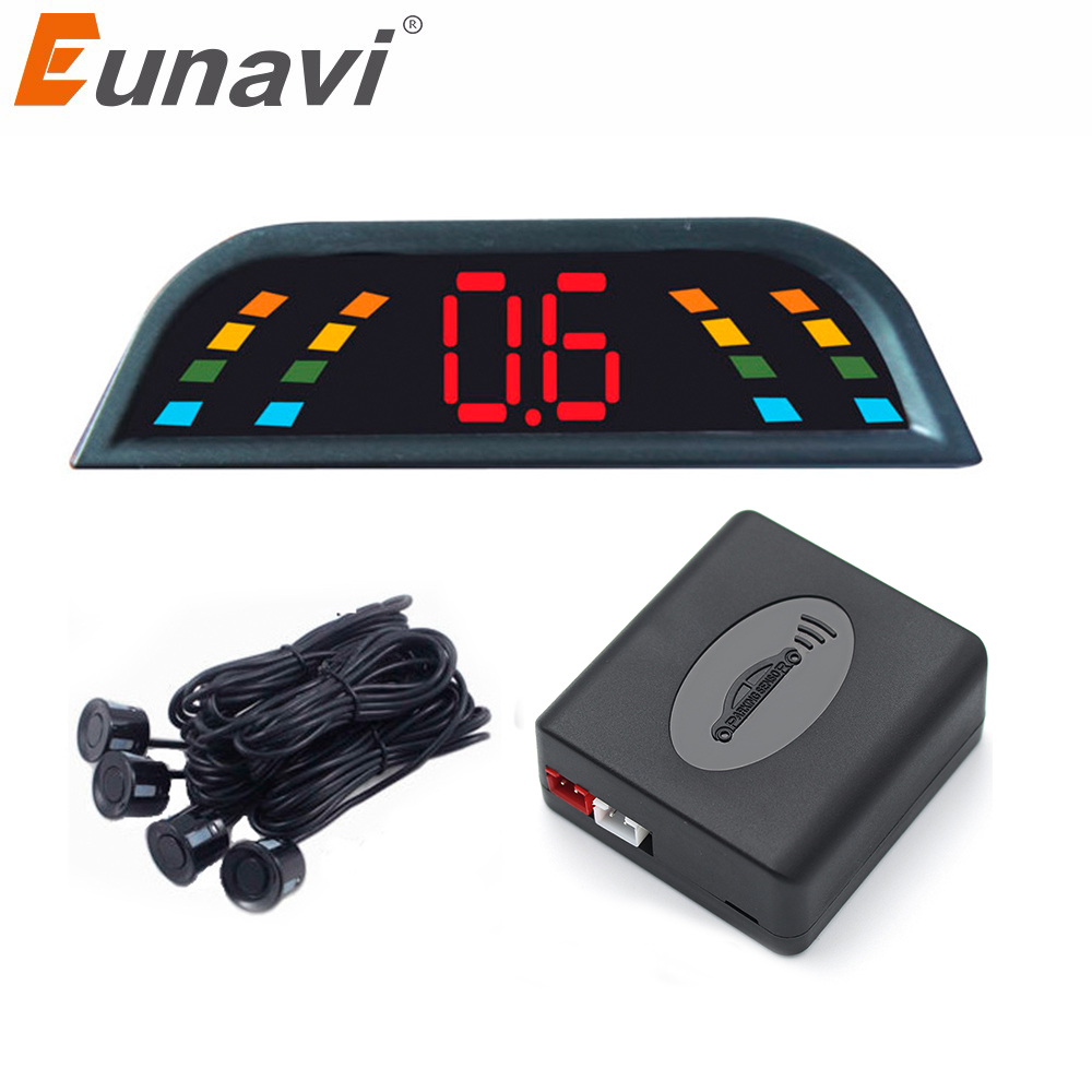 Eunavi Car Auto parktronic Sensor de aparcamiento LED con 4 Sensores revertir aparcamiento del coche radar Monitores detector sistema retroiluminación