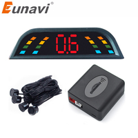 Eunavi Car Auto Parktronic LED Parking Sensor With 4 Sensors Reverse Backup Car Parking Radar Monitor