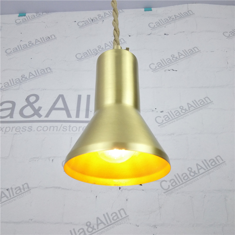 E27 All brass single head hanging light AC 100% pure copper material pendant lamp fabric twisted wire cord LED lighting fixture new bullet head bobbin holder with ceramic tube tip protecting lines brass copper material