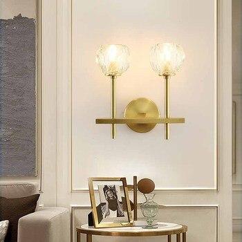 Lámpara de pared de cristal sala de estar dormitorio mesita de noche lámpara de pared de cobre moderna decoración del hogar espejo de Baño Luz de interior