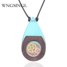 WNGMNGL Vintage Blue Resin Wood Pendant Necklaces Handmade Gear Water Drop Wooden Long Rope Necklace for Women Men Jewelry Gfit