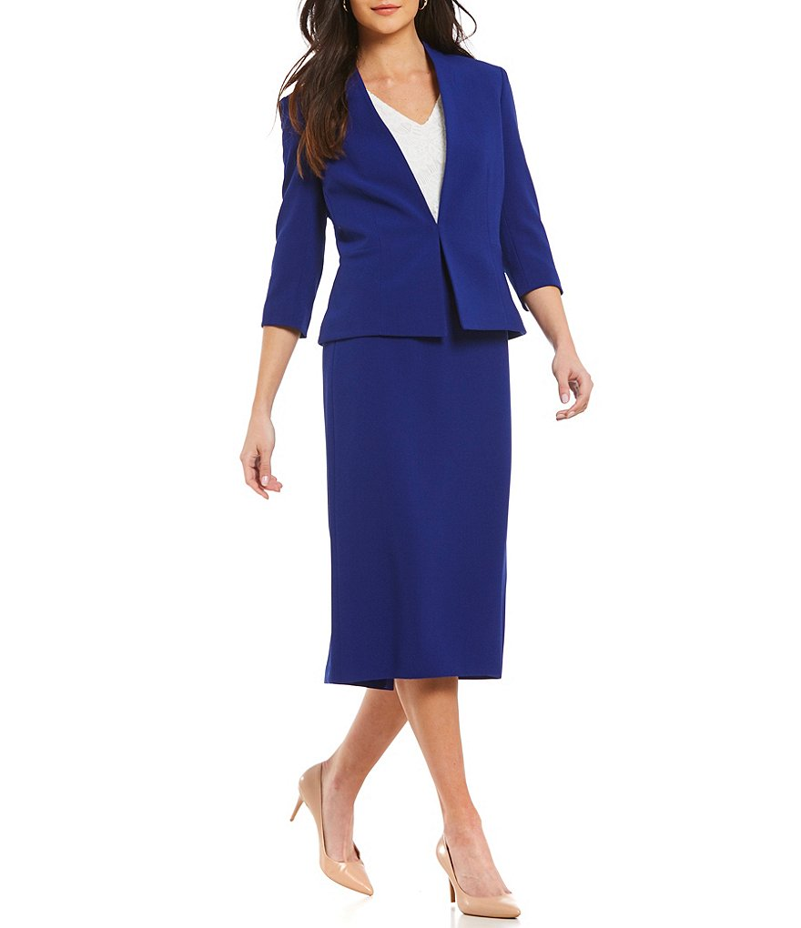 Able Women Suits Navy 3/4 Sleeves Women's Skirt Suits Career Suits Office Lady Suits Custom Made 2 Piece Jacket/Skirt