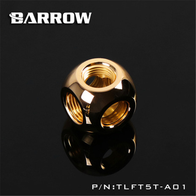 """Barrow G1/4"""" Metal Ball Cube Shape 3 4 5 Ways Coppor Stone Connector to Pagoda for water cooling TLFT5T-A01 TLFT4T-A01 TLFT3T"""