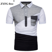 2018 summer polo shirt new style men Urban fashion geometry patchwork color mens slim short sleeved EU/US size S-XXL