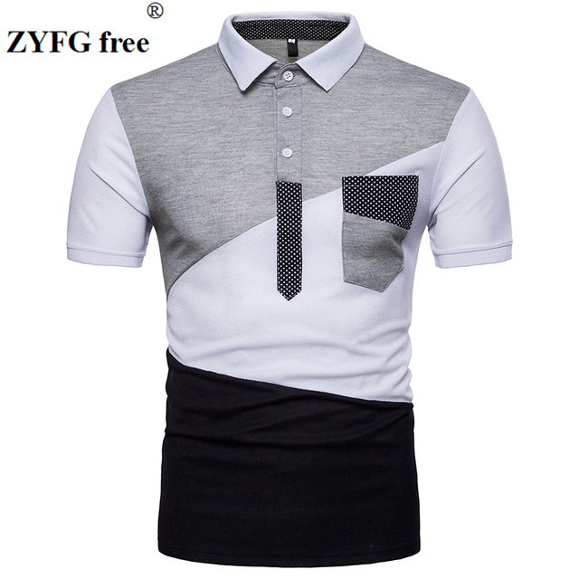 Camisa 2018 de polo del verano Hombres Nuevo estilo urbano moda geometría  patchwork delgada color de f78c285d72d86