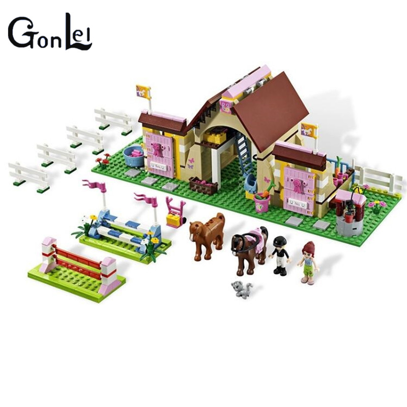 (GonLeI) 10163 Friends Building Blocks Series HeartLake Stables Mia's Farm Horse figures Girls Toys Compatible with 2017 new friends heartlake stables girls mia s farm building blocks 383pcs set bricks toys compatible with lego gift kid set