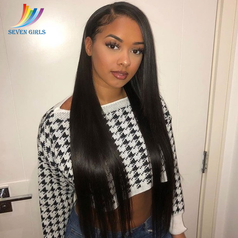 Sevengirls Malaysian Raw Virgin Human Hair Wigs Natural Color Straight Pre Plucked Hairline Full Lace Wig 8-30Inch Free Shipping