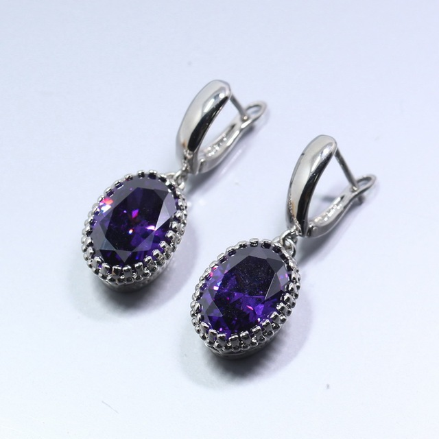 Unusual Purple Silver Jewelry Oval Drop Earrings For Women Free Gift Box D08