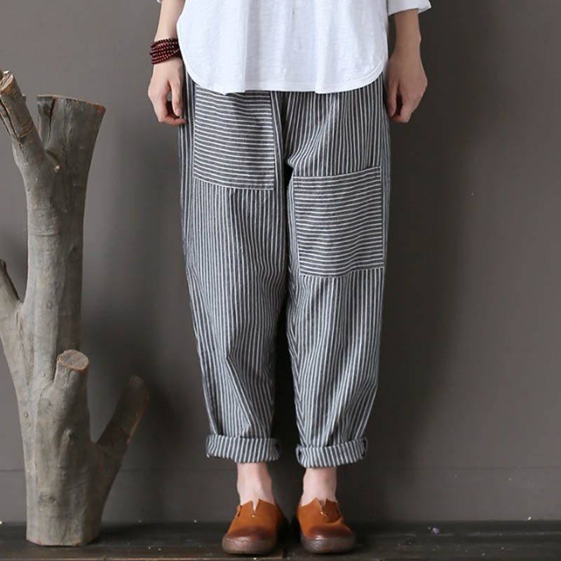 2a012531ab332 Plus Size ZANZEA Women Retro Striped Pants Elastic Waist Pockets Cotton  Linen Long Pants Loose Trousers Harem Pantalon 2018-in Pants   Capris from  Women s ...