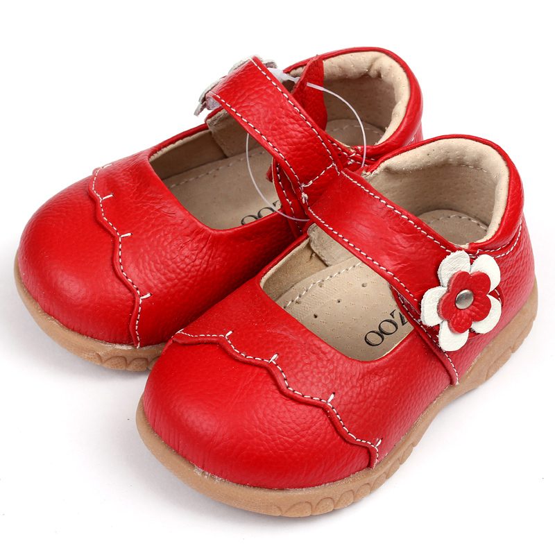 Girls Leather Shoes Fashion Breathable Rubber Sole Red