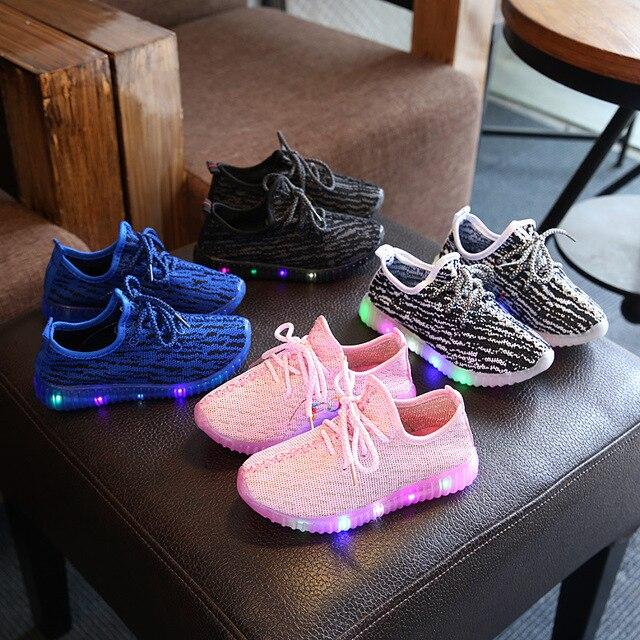 אביב קיץ בנות הובילו אור תחתון רך נעלי סניקרס נושם ספורט ילדי בני תינוק ילדים מזדמנים נעלי אופנה קוקוס