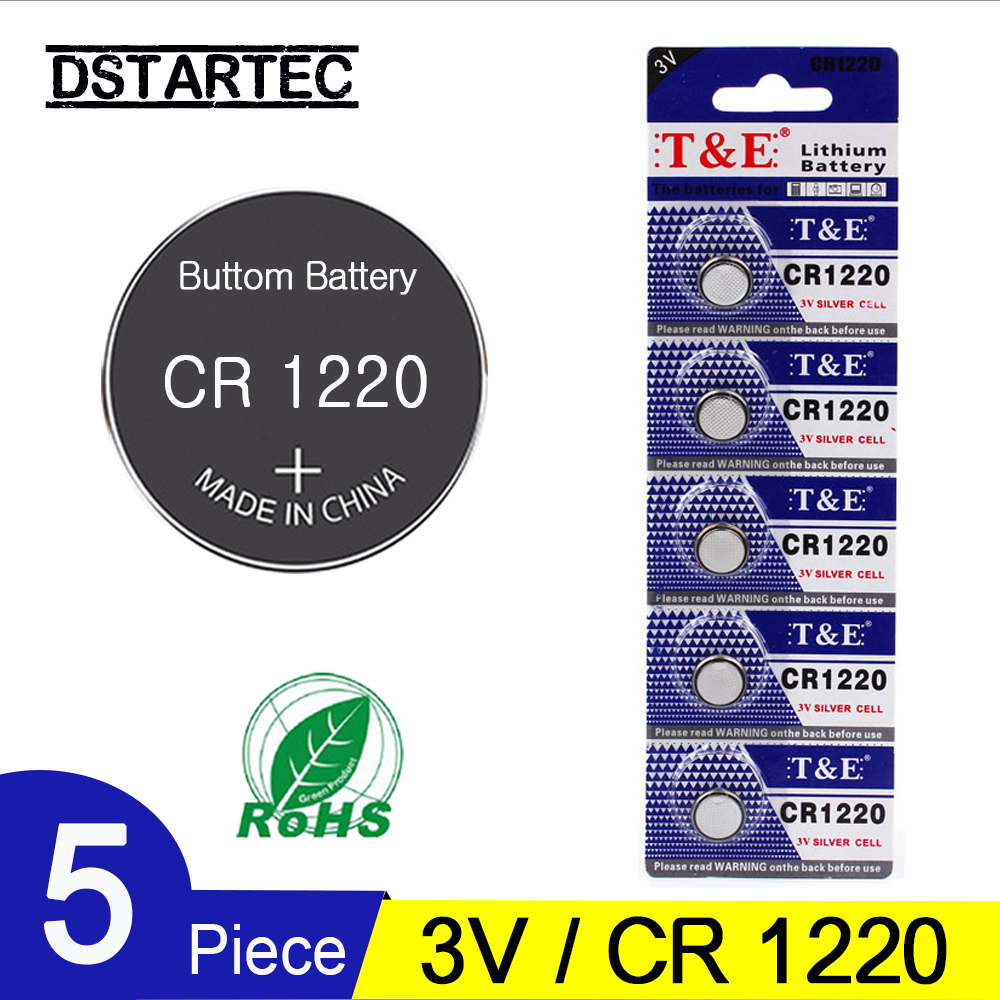 5PCS CR1220 3V Lithium Button Battery BR1220 LM1220 DL1220 CR 1220 L04 Coin Cell Batteries For Watch Remote Toys; 30mAh Battery