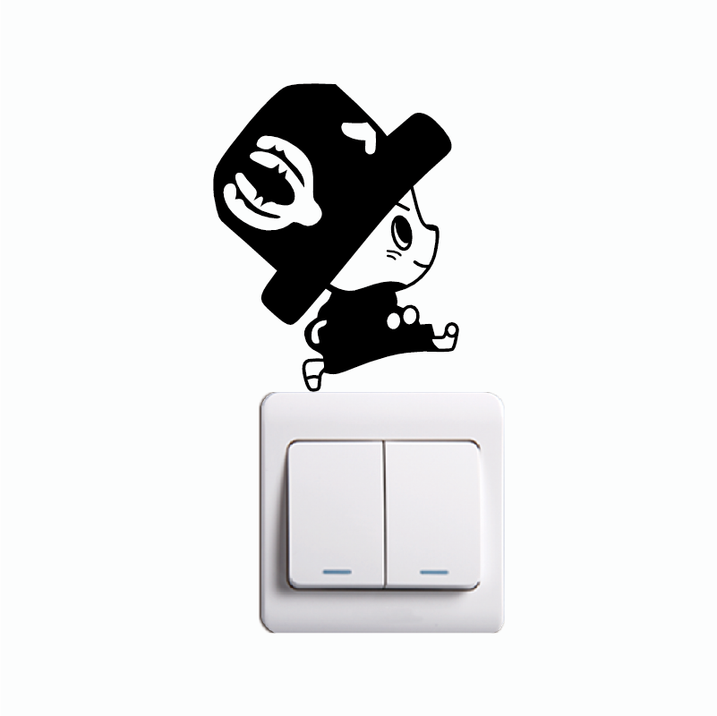 KG-161 Cute Chopper Switch Sticker Cartoon One Piece Vinyl Wall Stickers For Kids Room Home Wallpaper