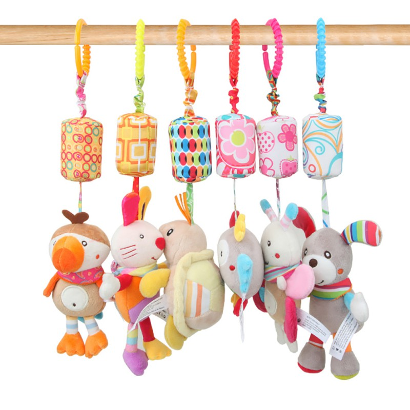 Baby Lathe Hanging Ring Animal Rattle Crib Hanging Baby Stroller Hanging Toys Teether Stuffed Doll New