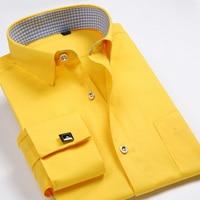 High Quality New 2014 Fashion French Cufflinks Shirts Men Dress Shirt Slim Fit Long Sleeve Cotton