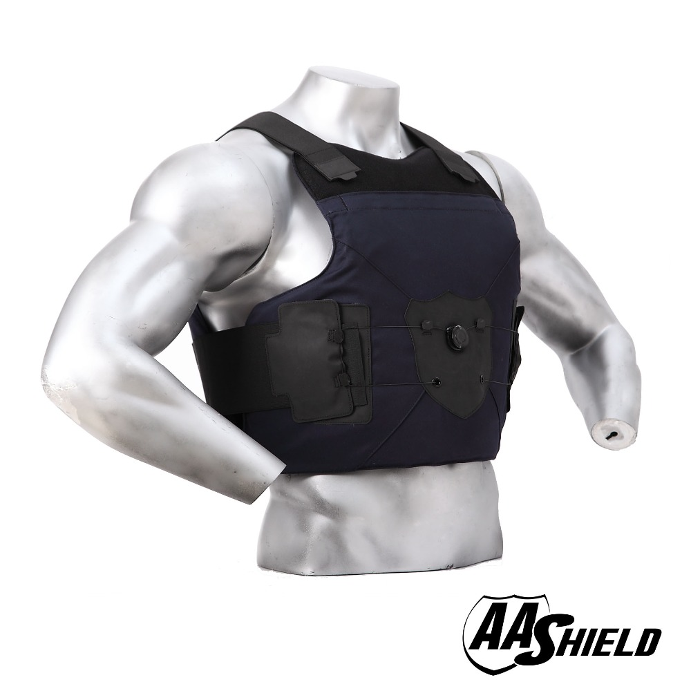 AA Shield Bullet Proof Suit Body Armour Vest Comfortable Dial Buckle Carrier Bullistic Aramid Core Insert Safety M/L Dark Blue