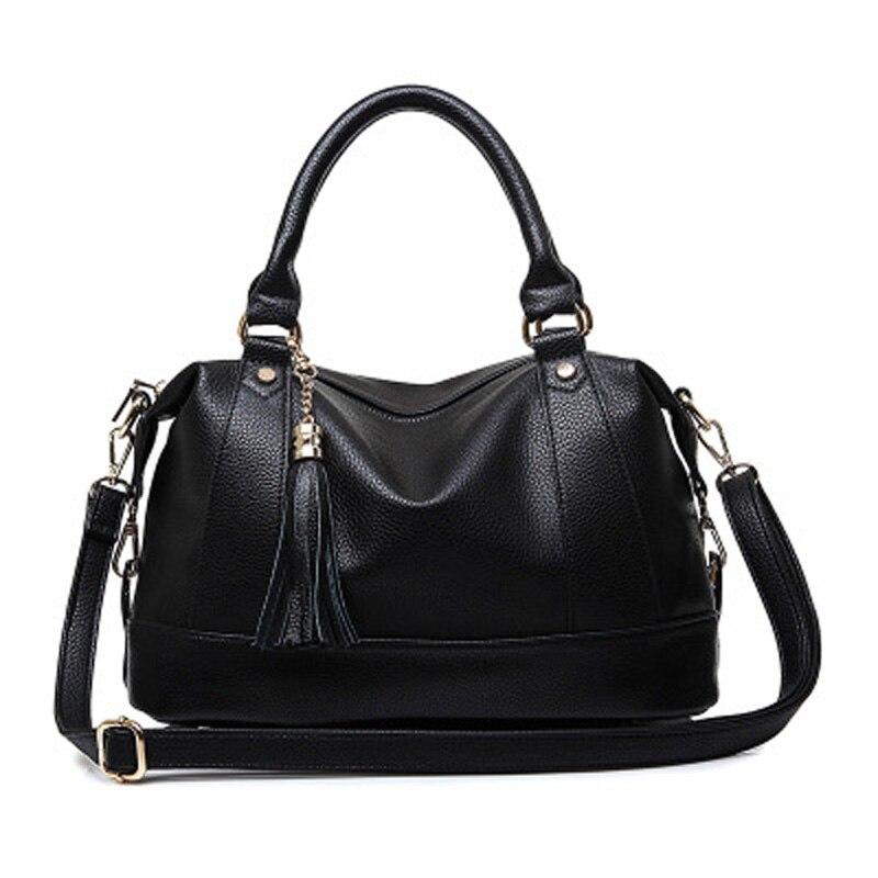 2017 New Arrive Fashion Women PU Leather Bag Female Luxury Famous Brand Design Big Black Tote Shoulder Messenger Crossbody Bag