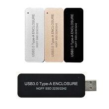 B+M key M.2 SATA SSD Enclosure USB 3.0 to M2 2242 SSD Case USB3.0 to NGFF B KEY adapter Retractable switch Mini Portable Box