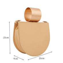 Women Semicircle Saddle Shoulder Bags Round Metal Handle Handbags Strap Ladies Messenger Bag