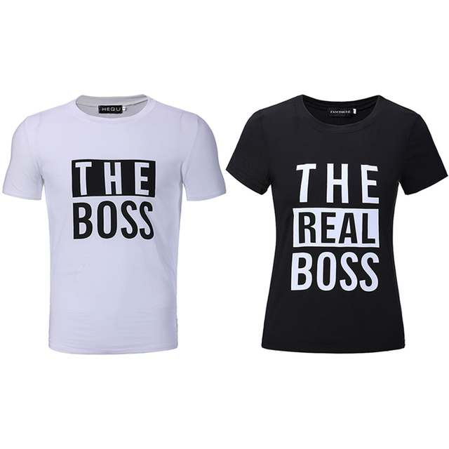 4733bc3ea The Boss The Real Boss Funny Couple Matching T-shirts Husband and Wife Tees  Love Couple Top Tee Funny Print women's tee shirts