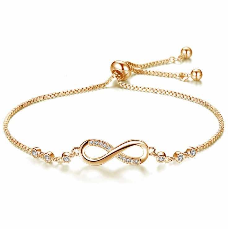 Groothandel 3 Kleur Mode Rose Goud 8 Woord Armband Kristal Uit Oostenrijkse Micro Ingelegd Zirkoon Verstelbare Armband Voor Vrouw