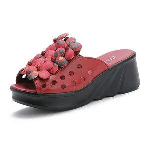 Image 4 - GKTINOO الصيف أحذية امرأة منصة النعال إسفين جلد طبيعي النساء النعال عالية الكعب للنساء الصنادل الرجعية أحذية نسائية