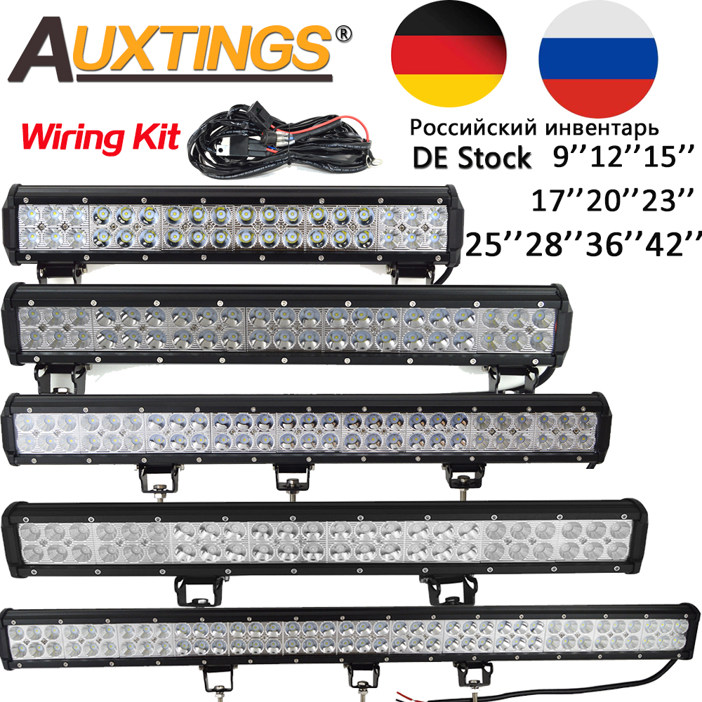 Auxtings 9'' 12'' 15'' 17'' 20''23'' 25'' 28' 36'' 42'' Offroad Led Light Bar 12V 24V Led  Work Light For Jeep 4WD Truck 4x4 SUV