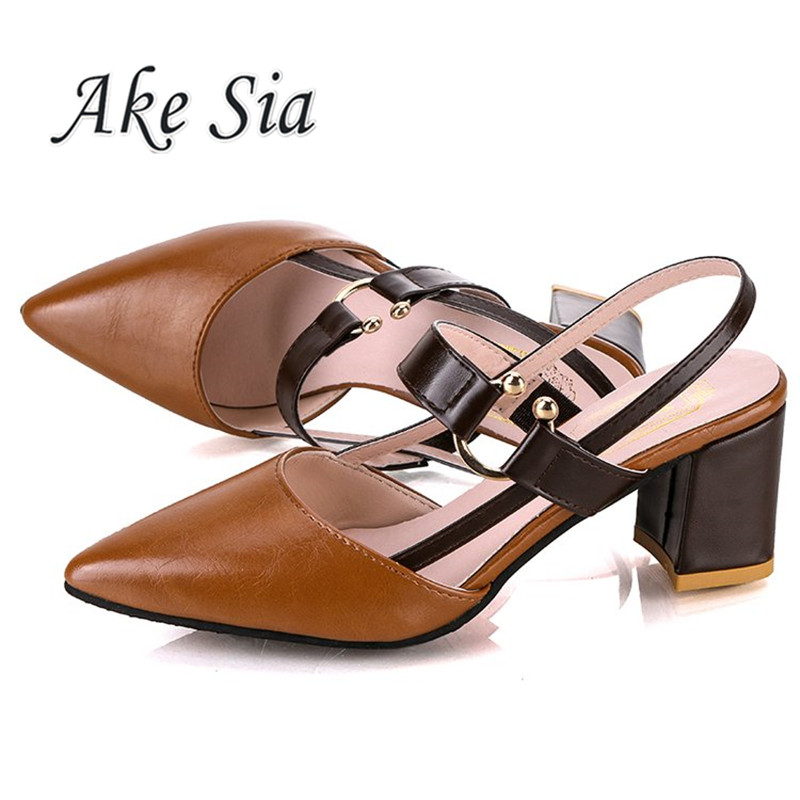 New Spring Autumn Sexy High Heels Hollow Coarse Sandals High-heeled Shallow Mouth Pointed Toe Women Shoes Mujer Large Size