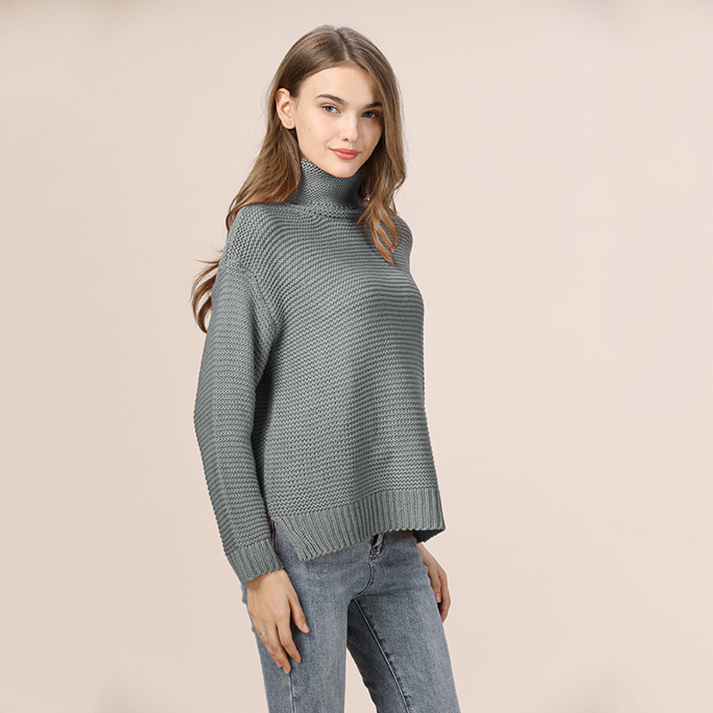 Casual Loose Autumn Winter Turtleneck Sweater Women Oversize Solid Knitted Sweaters Warm Long Sleeve Pullover Sweater Black Pink 21