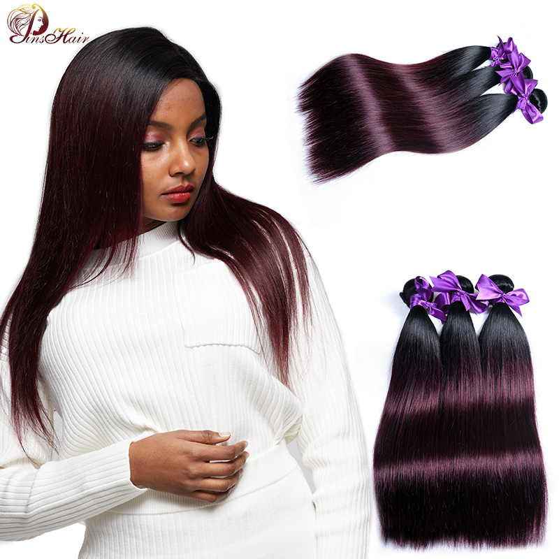 Brazilian Hair Weave Bundles Pinshair 1B Burgundy Ombre Bundles Dark Red 99J Straight Hair Bundles Human Hair Extensions Nonremy