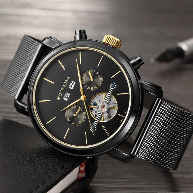 ORKINA יוקרה מותג זכר שעון 2019 אוטומטי עצמי רוח שעוני יד לוח שנה מלאה גברים שעון נירוסטה Relogio Masculino