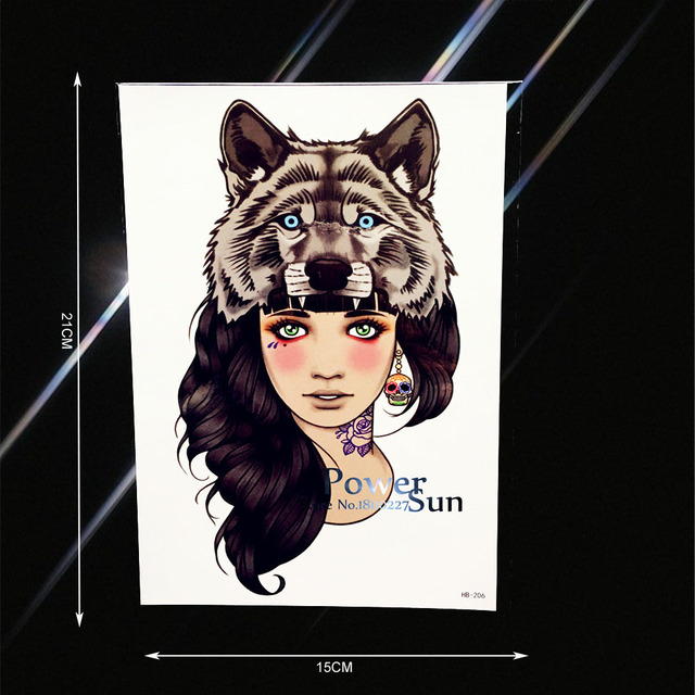 Sexy Wolf Head Girl Flower Arm Tattoo For Beauty Women Body Art Fake