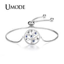 UMODE 2019 New Life Tree Blue CZ Crystal Bracelet for Women White Gold Box Chain Zircon Adjustable Jewelry Gift AUB0167