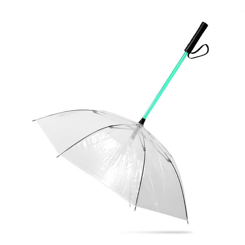 كلب مظلة المقود LED شفافة للماء متوهجة الحيوانات الأليفة مظلة المصباح مقبض ل المشي الكلب الحيوانات الأليفة في يوم ممطر