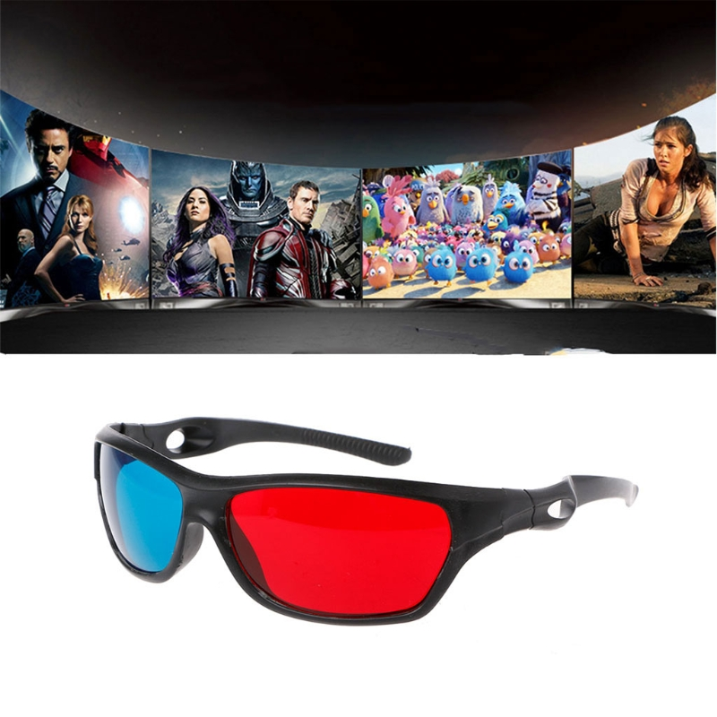 Universal 3D Plastic glasses/Oculos/Red Blue Cyan 3D glass Anaglyph 3D <font><b>Movie</b></font> Game DVD vision/cinema Black Frame image