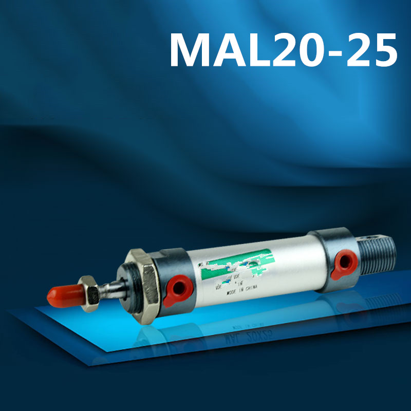 2pcs MAL20x25 Aluminum alloy mini cylinder MAL20-25 Pneumatic components 20mm bore 25mm storke 2 pcs new 44mm cylinder