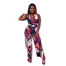 b27fc5352fa (Ship from US) Adogirl Bandage Leaf Print Jumpsuit 2018 Deep V Sexy Women  Overalls Backless Rompers Fashion Casual Jumpsuits Wide-leg Pants