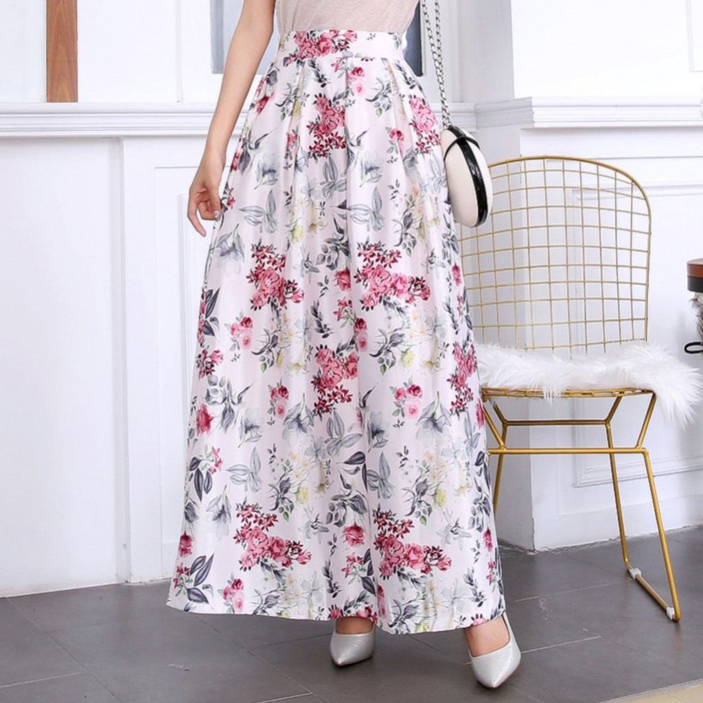 Women's summer flower print fashion casual retro skirt digital print skirt large size swing rubber pleated pettiskirt saia 40*