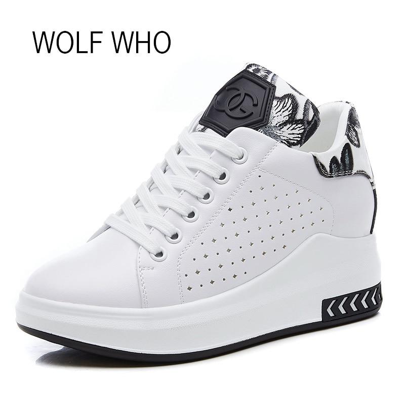 WOLF WHO 2018 Hidden Heels Women Platform Wedge Sneakers Ladies Leather White Shoes Female Krasovki Tenis Feminino Casual h-266 wolf who women winter shoes fur wedge fashion sneakers women hidden heels basket femme tenis femininos casual h 152