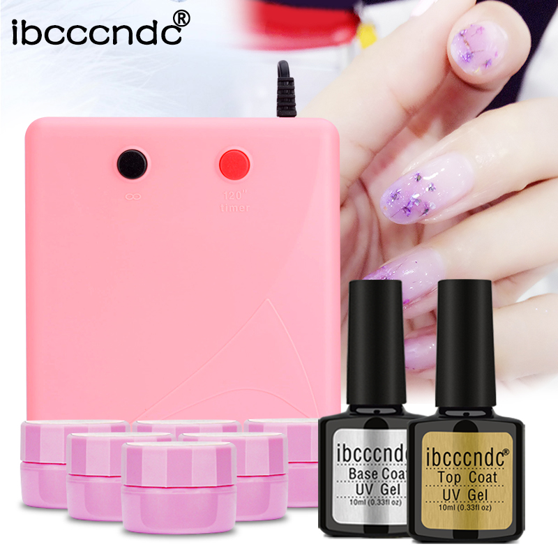 купить Nail Art Manicure Set 36W UV Lamp 6x5ml Soak Off Fairy Flower Gel Nail Polish Base Gel Top Coat Polish Primer Varnish Gelpolish онлайн