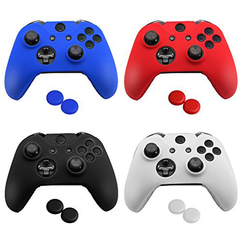 4 Colors Silicone Skin Protector Cover Case for Xbox One Controller with 4 Pairs of Matching Thumb Grips