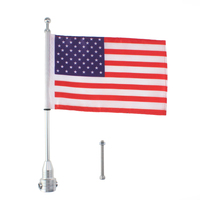Motorcycle Custom Rear Luggage Rack Mount Pole With American USA Flag For Harley